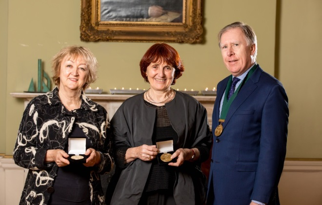 Yvonne Farrell and Shelley McNamara, of Grafton Architects, awarded the RIAI Gandon Medal for Architecture